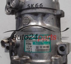 COMPRESSOR AIR CONDITIONING CON AIR CONDITIONING PUMP OPEL AGILA 1.3 CDTI GM 13 106 850, 13106850, TG1, SANDEN SD6V10